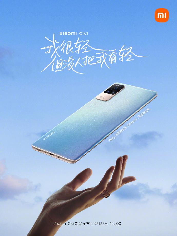 Xiaomi Civi on vain 6,98 millimetriä paksu ja painaa 166 grammaa.