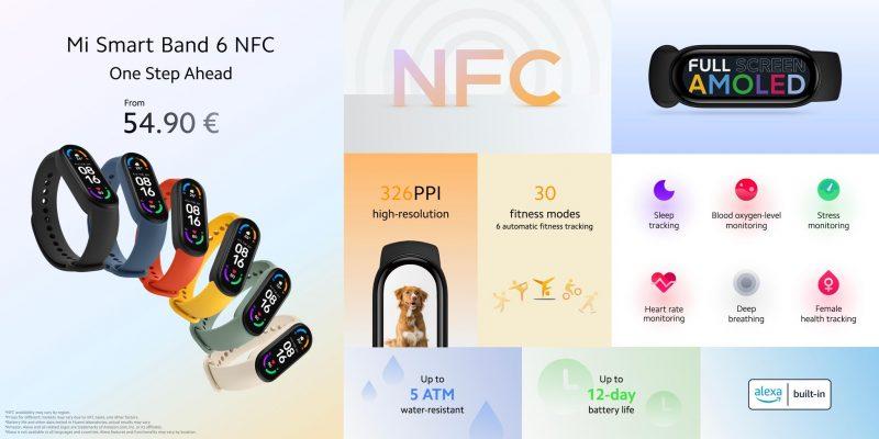 Xiaomi Smart Band 6 NFC:n ominaisuudet.
