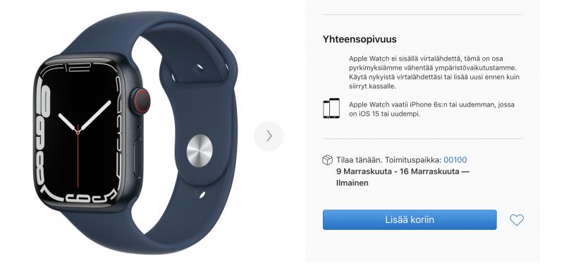 Eri Apple Watch Series 7 -varianttien toimitusaikaennusteet ovat valahtaneet ennakkomyynnissä jo 4-5 viikkoon ja pitkälle marraskuuta. Esimerkkinä tässä Apple Watch Series 7, 45 mm ja GPS + Cellular, keskiyönsinisellä alumiinikuorella ja urheilurannekkeella.