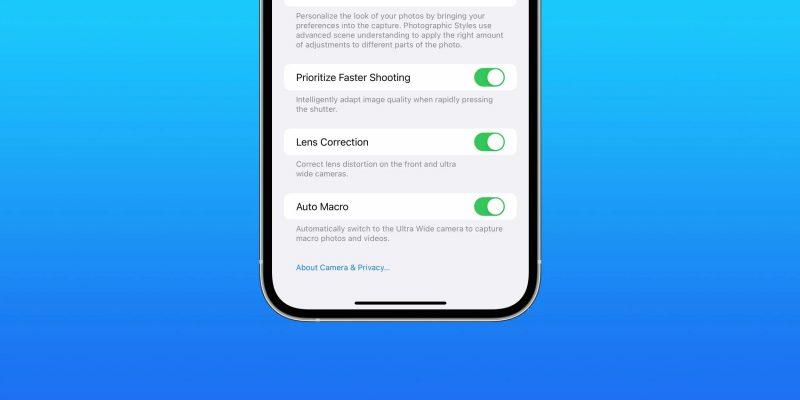 iOS 15.1 beta 3 ensiesitteli uuden asetuksen automaattisen makrotilan kytkemiseksi pois käytöstä. Kuva: 9to5Mac.
