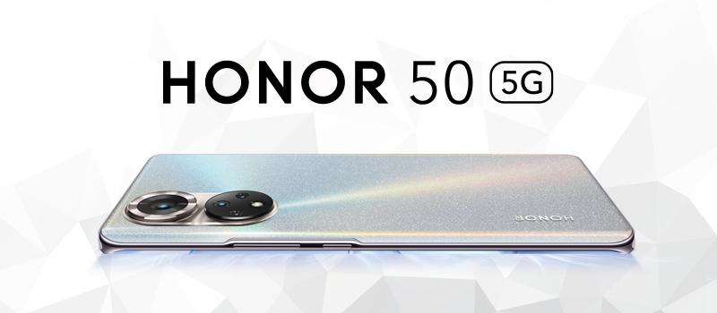 Honor 50 -älypuhelin Frost Crystal -värissä.
