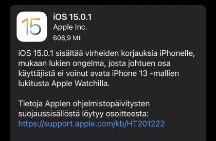iOS 15.0.1 on nyt ladattavissa.