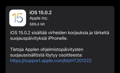 iOS 15.0.2 on nyt ladattavissa.