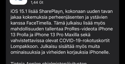 iOS 15.1 on nyt ladattavissa.