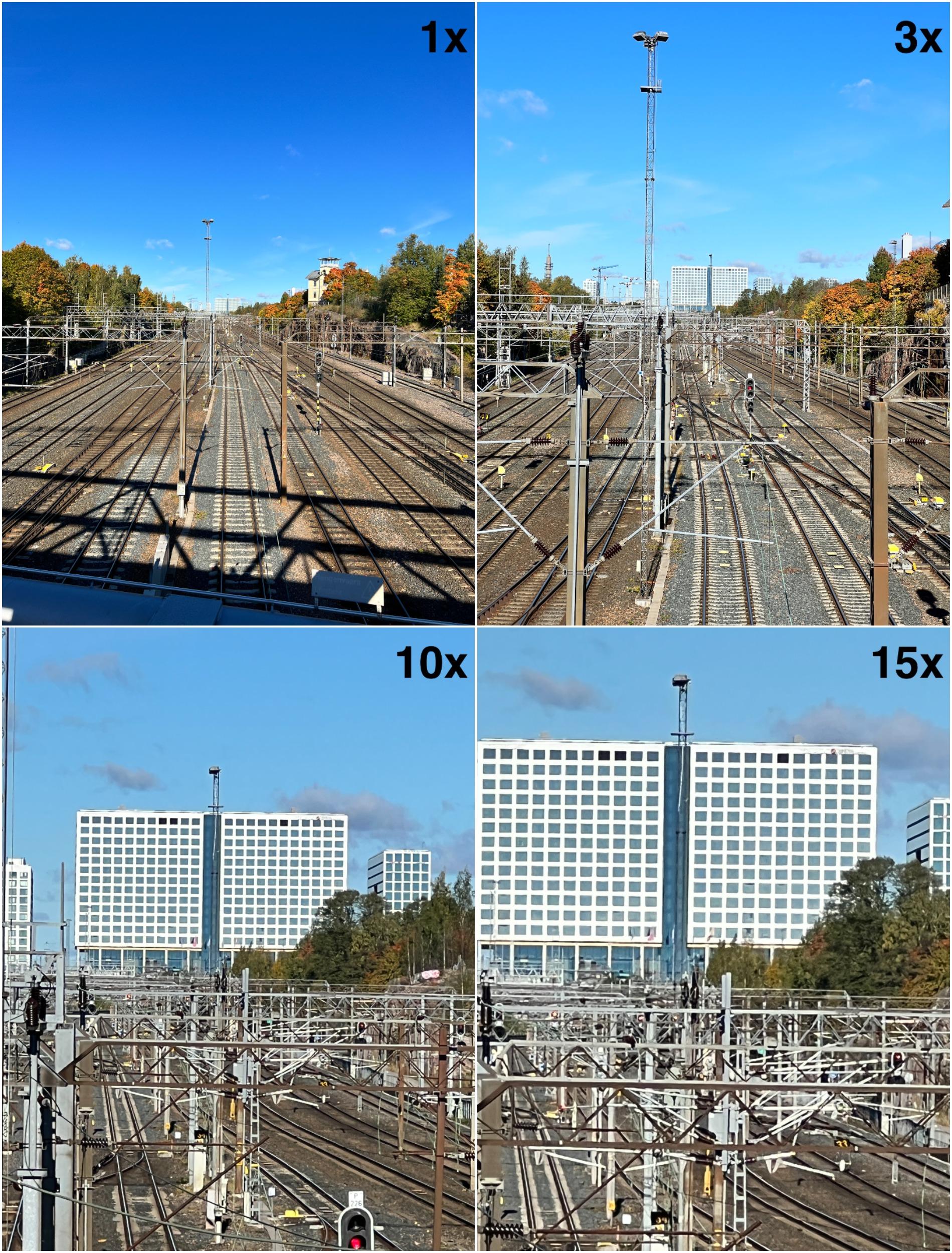 1x, 3x, 10x ja 15x iPhone 13 Prolla. 1x pääkameralla, 3x telekameralla sekä 10x ja 15x vielä lisäksi digitaalisella zoomauksella kuvatessa.