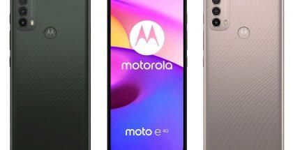 Motorola Moto E40 kahtena värivaihtoehtona.