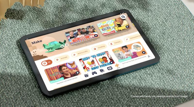 Kids Space -lapsitila Nokia T20:ssä. Kuvankaappaus verkkoon ilmestyneeltä videolta.
