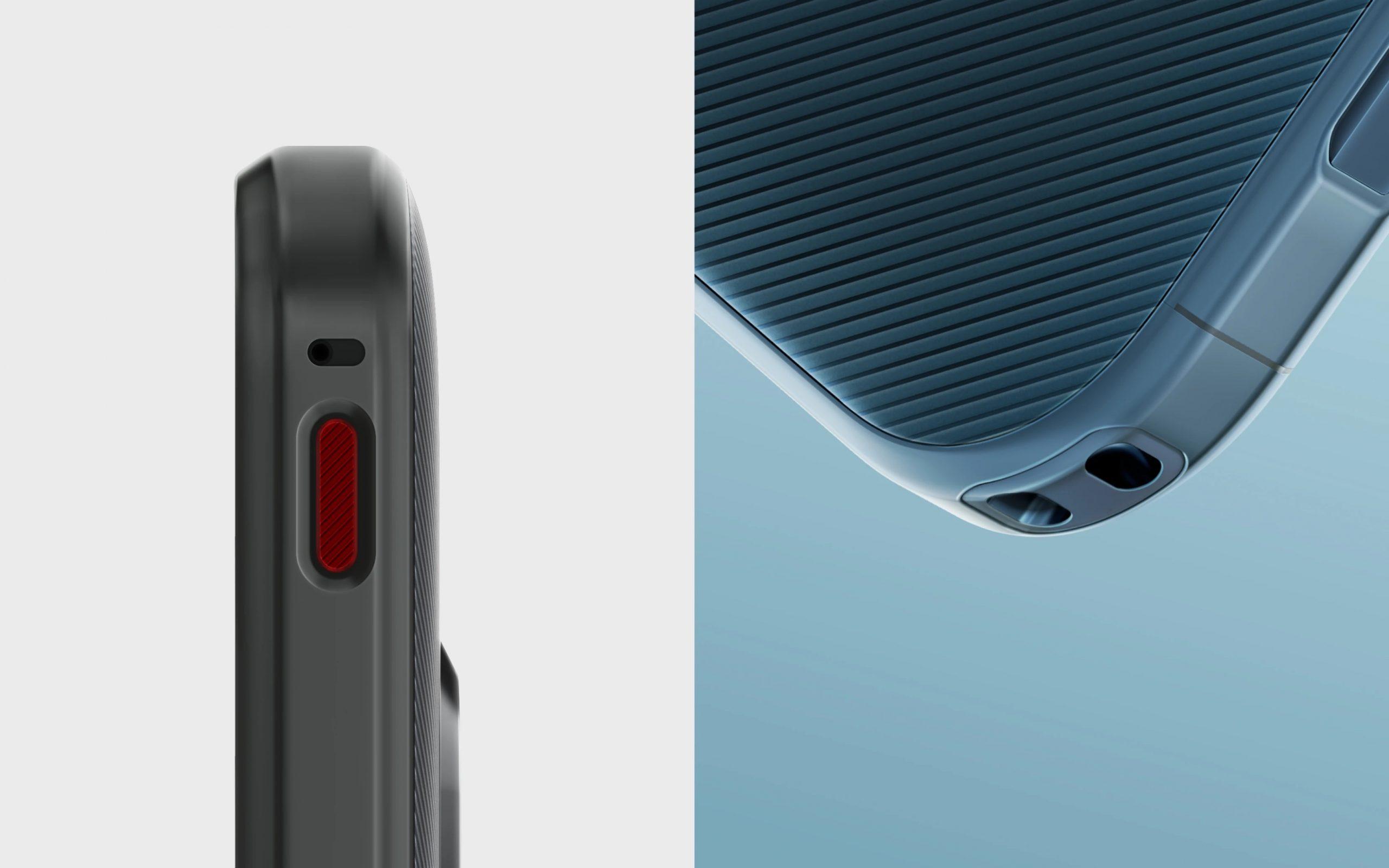 Nokia XR20 sisältää erikoisominaisuuksia, kuten punaisen ohjelmoitavan toimintopainikkeen sekä paikan kantohihnalle.
