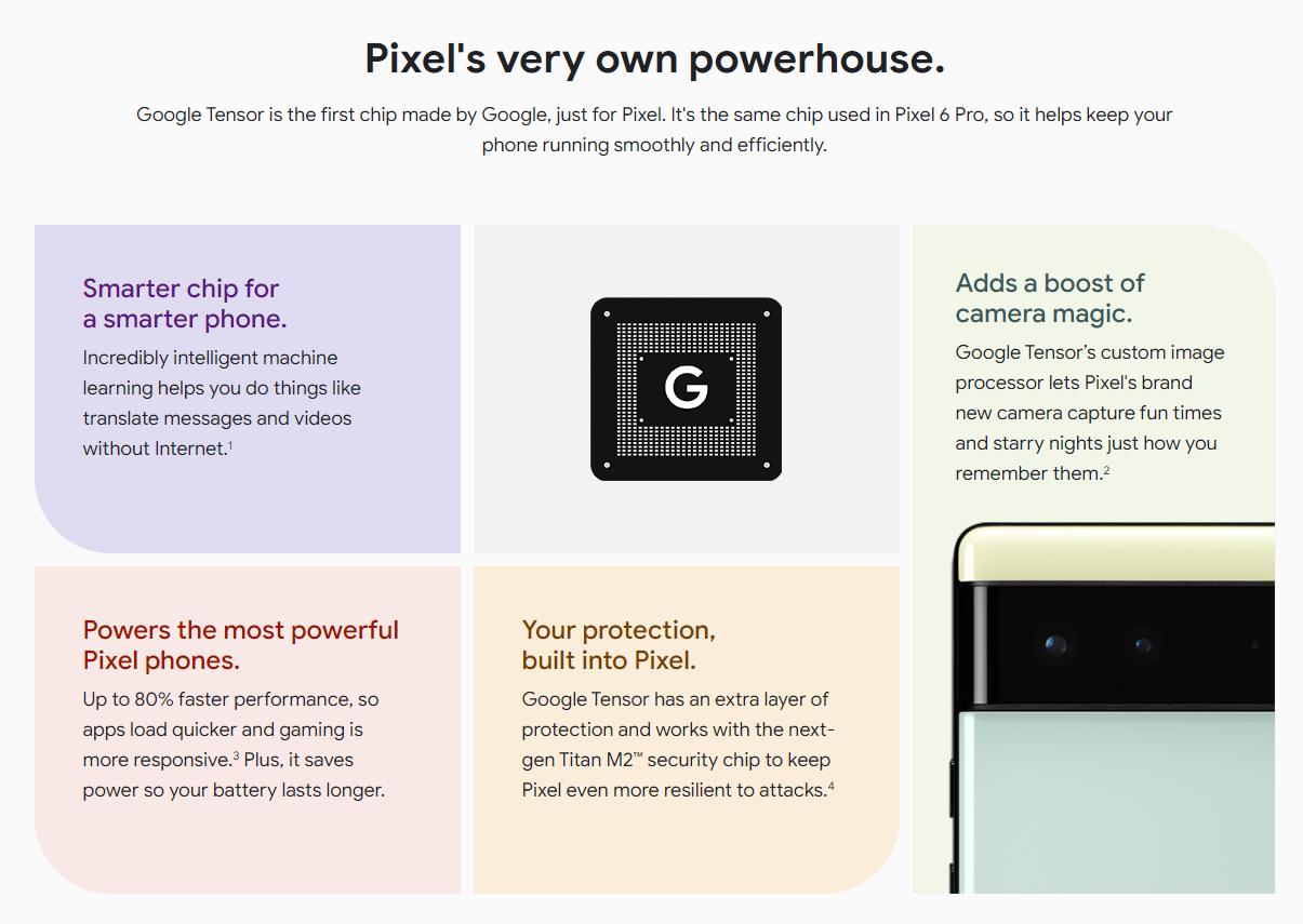 Näin Carphone Warehousen paljastamissa markkinointimateriaaleissa esitellään Pixel 6 -puhelinten uutta Tensor-järjestelmäpiiriä.