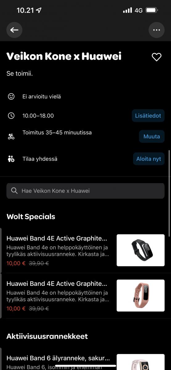 Huawei Band 4e Activen tarjoushinta Woltin kautta on vain 10 euroa.