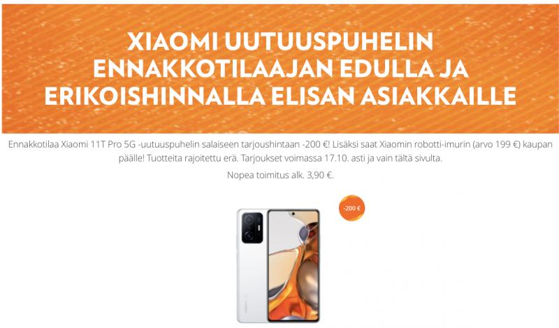 Elisan Xiaomi 11T Pro -tarjous on erinomainen.